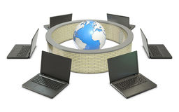 Earth and laptops with abstract firewall. On white background Stock Photo