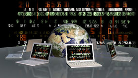 Earth and laptops with random numbers on screen, stock footage Royalty Free Stock Photography