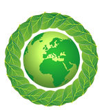 Earth  and leafs. Illustration image representing leafs aroun a green earth, expressing the idea that the earth is protected by the nature Stock Photography