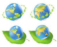 Earth with leaves. Eco Royalty Free Stock Photo