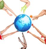 Earth and legs Royalty Free Stock Images