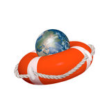 Earth in a life buoy Royalty Free Stock Photography