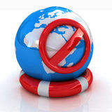 Earth on a lifeline.Сoncept of protection Stock Photo