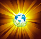 Earth LIght Abstract Background. Planet Earth with an explosion of light Royalty Free Stock Photography
