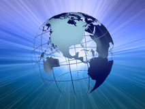 Earth with light beam#1. See-through earth with light beam background Stock Image