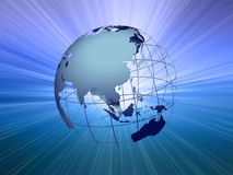 Earth with light beam#3. See-through earth with light beam background Royalty Free Stock Photos
