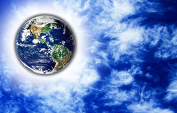 The Earth with light beam. And sky in background Stock Image