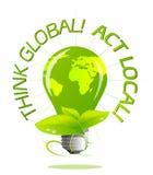 Earth Light Bulb Stock Photography