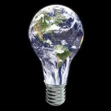 Earth light bulb - america view. Light bulb glowing in dark. Computer render Stock Image