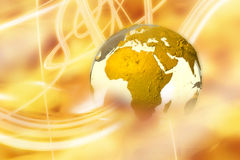 Earth in light fields. 3D illustration of earth with golden light rays surrounding it Royalty Free Stock Images