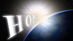 Earth,light,space. The light brings hope for a new life, a new beginning Stock Photo