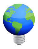 Earth lightbulb Stock Photography