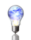 Earth in Lightbulb Burning Stock Photos