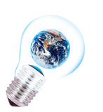 Earth  in a lightbulb Stock Photography