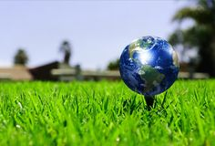 Earth - like a golf ball Stock Photos