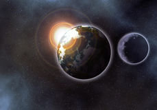 Earth like palanet at sunrise. In the starry space stock illustration