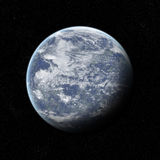 Earth like planet. An earth like planet with a crescent shadow Stock Photo