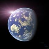 Earth-like Planet auf schwarzem Hintergrund Lizenzfreie Stockfotos