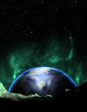 Earth Like Planet Exoplanet Aurora. A science fiction Earth-like exoplanet with aurora Stock Image