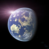 Earth-like planet on black background Royalty Free Stock Photos