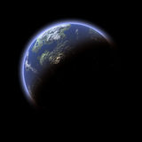 Earth-like planet on black background Stock Photography