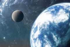 Earth like planet or Extrasolar planet with moon Royalty Free Stock Image