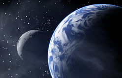 Earth Like Planet with a Moon Royalty Free Stock Images