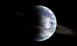 Earth like planet with rings. An earth like planet with planetary rings system Stock Images