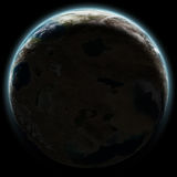 Earth like planet rising in space at night Royalty Free Stock Photo