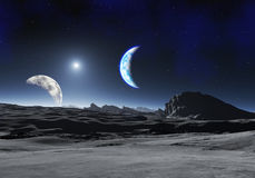 Earth Like Planet with two Moons Royalty Free Stock Image