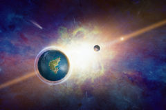Earth-like potentially habitable planet with liquid water Stock Images