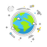 Earth lines vector design. Earth in space with lines space satellites, comets, Moon icons. Stock illustration for. Banners, catalogs, infographics Royalty Free Stock Image