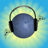 Earth listen music Royalty Free Stock Image