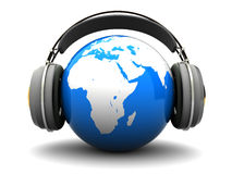 Earth listening. Abstract 3d illustration of earth listening music Stock Photos