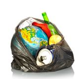 Earth and litter. Concept on white background stock photography