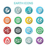 Earth long shadow icons Stock Photo