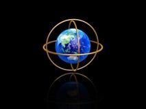 Earth with longitude and latitude rings. On dark background royalty free illustration