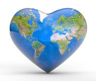 Earth Love. Heart shaped Earth on white Royalty Free Stock Photos