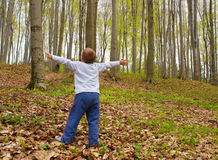 Earth lungs. A boy is standing in the woods with arms spread, breathing the air Stock Photo