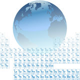 Earth made of atoms Periodic Table Elements. Scientific Earth is made of atoms with an accurate Periodic Table of the Elements vector illustration
