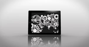 Earth made of cogs and wheels montage displayed on various media screens Royalty Free Stock Photography