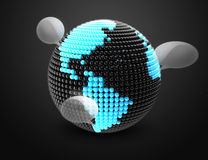 Earth made of  color beads with social chat. Model of Earth made of  color beads, ball with social chat sign and speech bubbles Stock Image