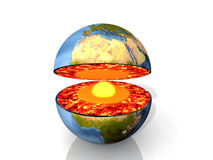 Earth and magma. Earth open with magma and  center Stock Image