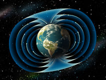 Earth magnetic field. Magnetic field surrounding planet earth. Digital illustration Royalty Free Stock Photos