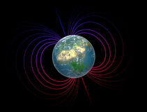 Earth with the magnetosphere. Earth with its magnetosphere - scientific illustration Stock Photography
