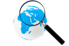 Earth with magnifier Royalty Free Stock Photography