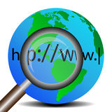 The Earth and magnifier Royalty Free Stock Photography