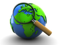Earth and magnify glass. 3d illustration of earth globe and magnify glass, over white background Stock Photo