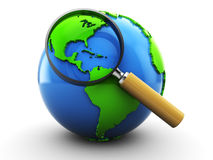 Earth and magnify glass. 3d illustration of earth globe and magnifying glass Royalty Free Stock Images