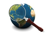 Earth and magnify glass. 3d illustration of earth and magnify glass, icon, background Royalty Free Stock Photography